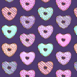 (small scale) heart shaped donuts - valentines multi on purple