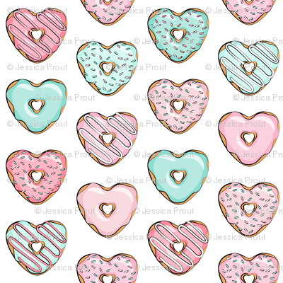 (small scale) heart shaped donuts - valentines pink & mint