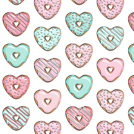 (small scale) heart shaped donuts - valentines pink & mint  fabric by littlearrowdesign on Spoonflower - custom fabric