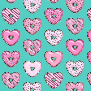 (small scale) heart shaped donuts - valentines pink  on dark teal