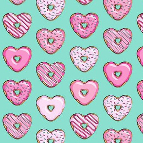 (small scale) heart shaped donuts - valentines pink  on teal