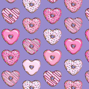 (small scale) heart shaped donuts - valentines pink on purple
