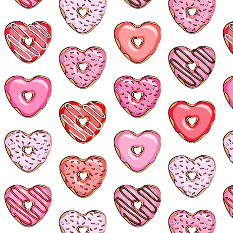 (small scale) heart shaped donuts - valentines red and pink  fabric by littlearrowdesign on Spoonflower - custom fabric