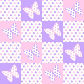 Lavender Purple Pink Butterfly Polka Dot Quilt Blocks