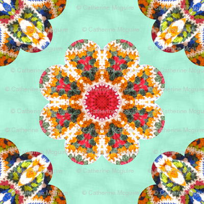 crochet wave petals quilt