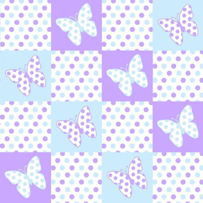 Lavender Purple Blue Butterfly Polka Dot Quilt Blocks