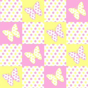 Yellow Pink Butterfly Polka Dot Quilt Blocks