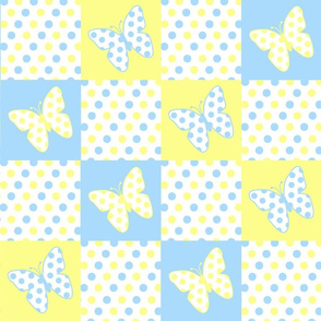 Yellow Blue Butterfly Polka Dot Quilt Blocks