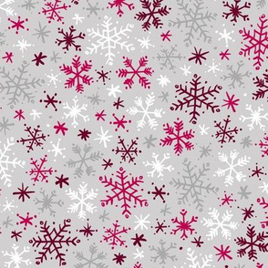 Snowfall (Silver and Cranberry)