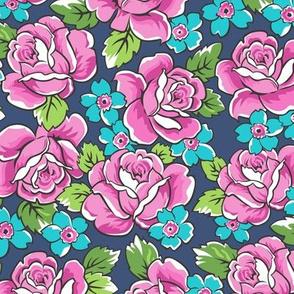 Pink Roses & Blue Floral on Navy Blue