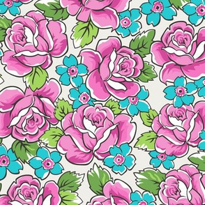 Pink Roses & Blue Floral on Cloud Grey