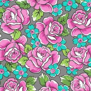Pink Roses & Blue Floral on Grey