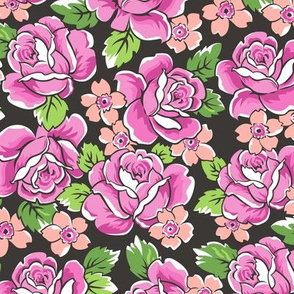 Pink Roses & Peach Floral on Black