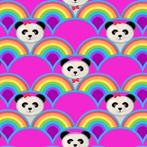 panda rainbow scallop fabric // rainbow Panda baby nursery