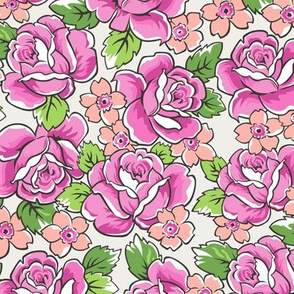 Pink Roses & Peach Floral on Cloud Grey