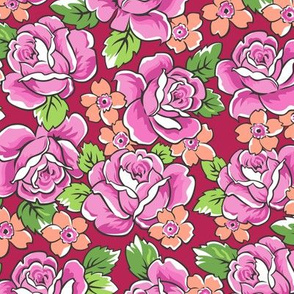 Pink Roses & Peach Floral on Red