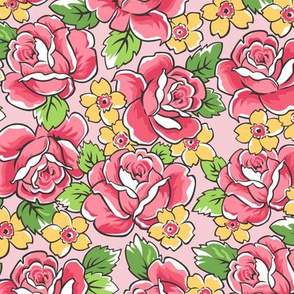 Red Roses & Yellow Floral on Pink