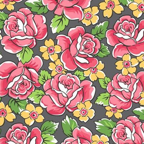 Red Roses & Yellow Floral on Dark Grey