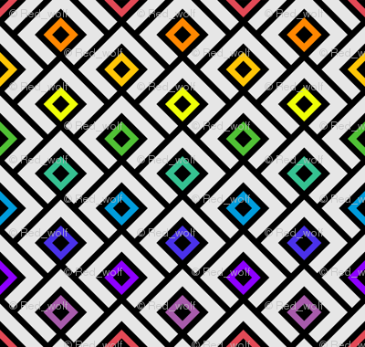 Geometric Pattern: Layered Diamonds: Rainbow