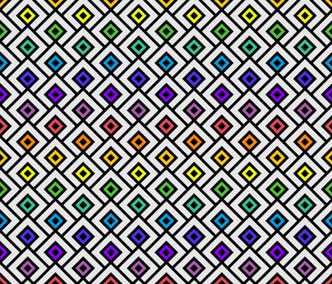 Geometric Pattern: Layered Diamonds: Rainbow fabric by red_wolf on Spoonflower - custom fabric