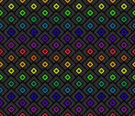 Geometric Pattern: Layered Diamonds: Dark Rainbow fabric by red_wolf on Spoonflower - custom fabric