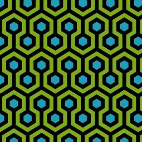 Geometric Pattern: Looped Hexagons: Green/Blue