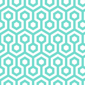 Geometric Pattern: Looped Hexagons: Blue
