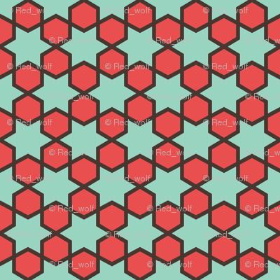 Geometric Pattern: Star Hexagon: Green/Red