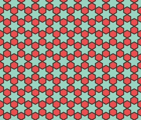 Geometric Pattern: Star Hexagon: Green/Red fabric by red_wolf on Spoonflower - custom fabric