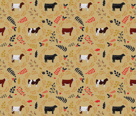 Fall Leaves & Steers / Cattle / Cows fabric by thecraftyblackbird on Spoonflower - custom fabric