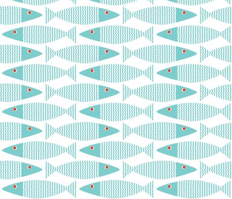 Wavy Bass - On White fabric by jillbyers on Spoonflower - custom fabric