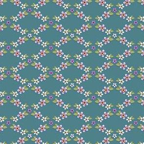 Floral trellis - Teal