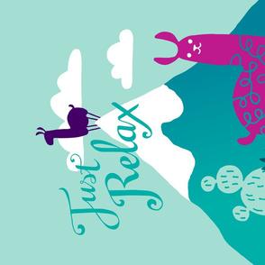 Llama Relax tea towel - poster