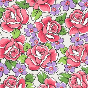 Red Roses & PurpleFloral on Cloud Grey