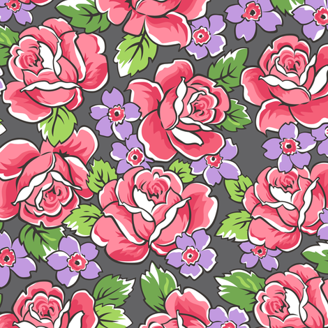 Red Roses & Purple Floral on Dark Grey fabric by caja_design on Spoonflower - custom fabric