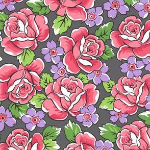 Red Roses & Purple Floral on Dark Grey
