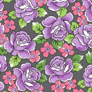 Purple Roses & Pink Floral on Dark Grey