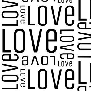 LOVE Large print black on white