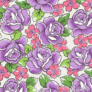 Purple Roses & Pink Floral on Cloud Grey