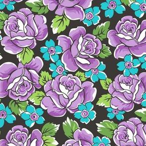 Purple Roses & Pink Floral on Black