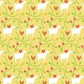 Goats and Hens in a Field of Flowers on a Cornflower Butter Background