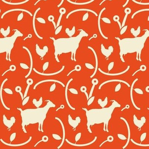 Goats and Other Barnyard Animals on a Red Background, Farmhouse Style , Chickens with  Modern Flowers