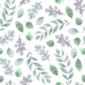 Green watercolor florals and leaves