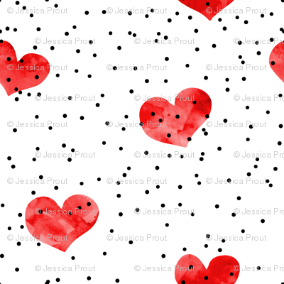 watercolor heart || scatter dots - red