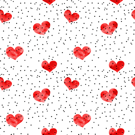 watercolor heart || scatter dots - red fabric by littlearrowdesign on Spoonflower - custom fabric