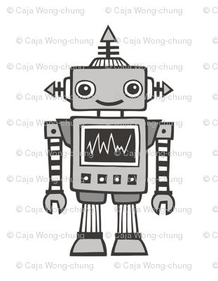 Grey Robot Plush Plushie Softie Cut & Sew