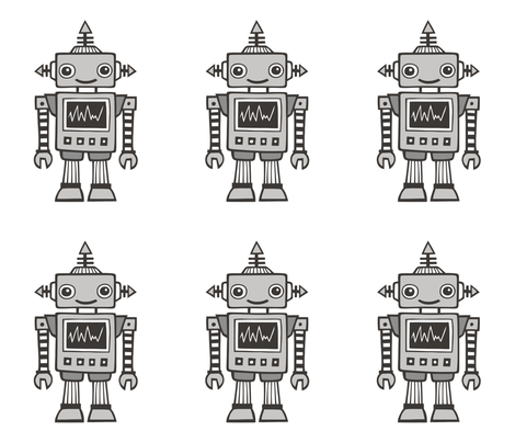 Grey Robot Plush Plushie Softie Cut & Sew fabric by caja_design on Spoonflower - custom fabric