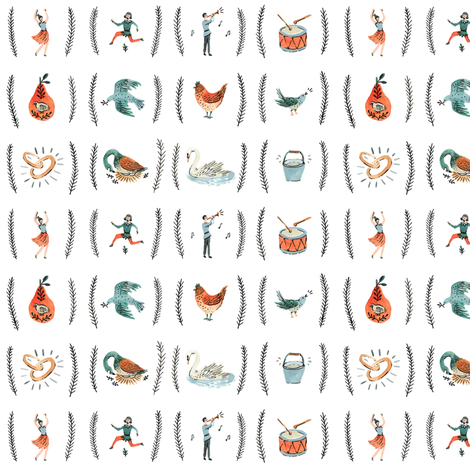 12 Days of Christmas fabric by wildship on Spoonflower - custom fabric