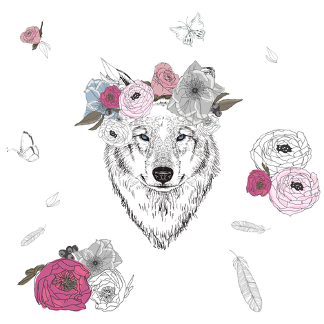 "8"" Girl Wolf with Flowers fabric by shopcabin on Spoonflower - custom fabric"