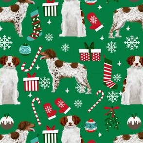 brittany spaniel dog fabric christmas xmas holiday dog design
